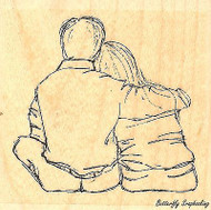 Couple Small, Wood Mounted Rubber Stamp IMPRESSION OBSESSION - NEW, D13078