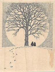 Couple With Tree, Wood Mounted Rubber Stamp IMPRESSION OBSESSION - NEW, H1901