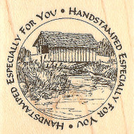 Covered Bridge Circle Saying Wood Mounted Rubber Stamp Impression Obsession NEW