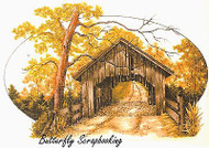 Covered Bridge Scene Cling Unmounted Rubber Stamp C.C. Designs JD1017 New