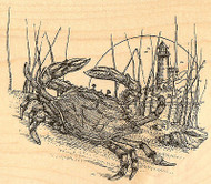 Crab With Lighthouse, Wood Mounted Rubber Stamp IMPRESSION OBSESSION- NEW, J1497