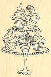 CUPCAKES Cupcake Wood Mounted Rubber Stamp Impression Obsession F2178 NEW