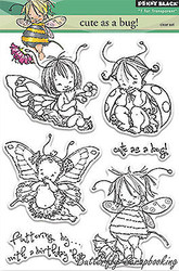 Cute As Bug Stamp Set, Clear Unmounted Rubber Stamp Set PENNY BLACK- NEW, 30-220