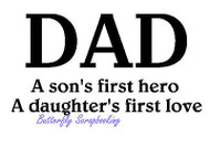 DAD Son's Hero Daughter's Love Cling Unmounted Rubber Stamp MAGENTA C07751-H NEW