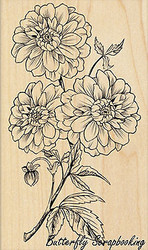 Dahlia Dance Flower, Wood Mounted Rubber Stamp PENNY BLACK - NEW, 4380K