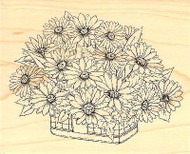 Daisy Basket, Wood Mounted Rubber Stamp IMPRESSION OBSESSION - NEW, G16052