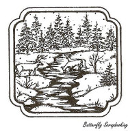 Deer At Stream In Curve Frame, Wood Mounted Rubber Stamp NORTHWOODS- NEW, MM9640