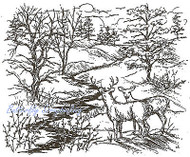 Deer Buck & Doe Trees & Stream Wood Mounted Rubber Stamp NORTHWOODS - P1859 New