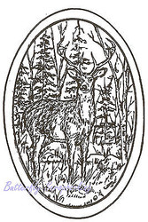 Deer Buck Forest Oval Wood Mounted Rubber Stamp NORTHWOODS Stamp M3617 New