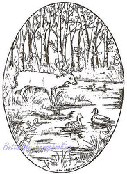 Deer Buck Forest with Ducks Wood Mounted Rubber Stamp NORTHWOODS Stamp P7971 New