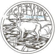Deer Buck In Stream Circle Wood Mounted Rubber Stamp Northwoods Rubber Stamp New