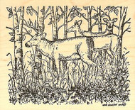 Deer Family In Woods, Wood Mounted Rubber Stamp NORTHWOODS - NEW, P9748