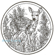 Deer Fawn Flower Circle Wood Mounted Rubber Stamp Northwoods Rubber Stamp New