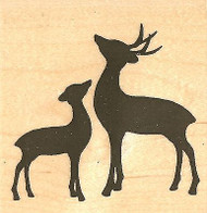 DEER PAIR SILHOUETTE Wood Mounted Rubber Stamp Impression Obsession D9818 NEW