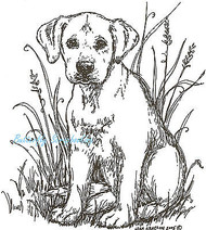 Dog Labrador Puppy Jade Wood Mounted Rubber Stamp Northwoods Rubber Stamp New