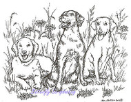 Dog Labrador Retrievers Wood Mounted Rubber Stamp NORTHWOODS P8546 New