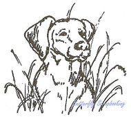 DOG Maddie Lab In the Weeds Wood Mounted Rubber Stamp NORTHWOODS CC1733 New
