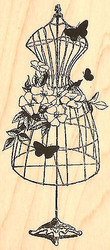 Dogwood Dress Stand Wood Mounted Rubber Stamp Impression Obsession E13084 NEW