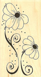 Dot Flowers, Wood Mounted Rubber Stamp IMPRESSION OBSESSION - NEW, E17025