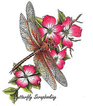 DRAGONFLY Floral Flowers Cling Unmounted Rubber Stamp C.C. Designs JD1018 New