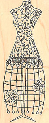 Dress Stand Dress Form Wood Mounted Rubber Stamp Impression Obsession E2452 NEW
