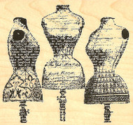 Dress Stands Dress Form Trio Wood Mounted Rubber Stamp Impression Obsession NEW