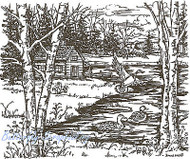 Ducks And Cabin, Wood Mounted Rubber Stamp NORTHWOODS - NEW, P3614