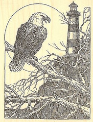 EAGLE LIGHTHOUSE Wood Mounted Rubber Stamp Impression Obsession H1991 NEW