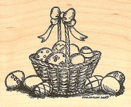 Easter Basket And Eggs, Wood Mounted Rubber Stamp NORTHWOODS - NEW, M9707