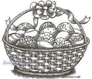 Easter Basket with Easter Eggs Wood Mounted Rubber Stamp NORTHWOODS P9408 New