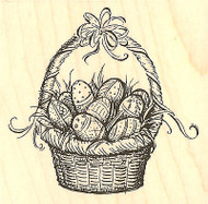 Easter Basket With Eggs Wood Mounted Rubber Stamp Impression Obsession E4612 NEW