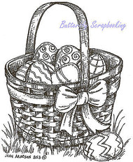 Easter Basket with Eggs Wood Mounted Rubber Stamp Northwoods Stamp - M8997 New