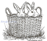 EASTER Bunnies in Basket Wood Mounted Rubber Stamp NORTHWOODS F7934 New
