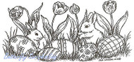 EASTER Bunnies with Easter Eggs Wood Mounted Rubber Stamp NORTHWOODS O9001 New