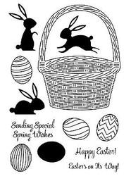 Easter Bunny Basket Unmounted Red Rubber Cling Stamps Impression Obsession New