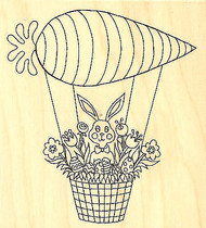 Easter Bunny Carrot Balloon Wood Mounted Rubber Stamp Impression Obsession NEW