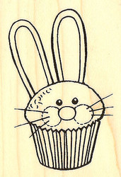 Easter Bunny Cupcake Wood Mounted Rubber Stamp STAMPENDOUS M320 New
