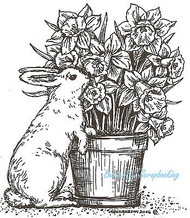 Easter Bunny Daffodil Pot Wood Mounted Rubber Stamp Northwoods Rubber Stamp New