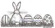 Easter Bunny Egg Border Wood Mounted Rubber Stamp Northwoods Stamp O9418 New