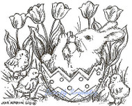 EASTER Bunny in Easter Egg Wood Mounted Rubber Stamp NORTHWOODS M9005 New