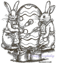 Easter Bunny Painting Egg Wood Mounted Rubber Stamp Northwoods Stamp - P9421 New