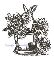 Easter Bunny Pot Tiny Wood Mounted Rubber Stamp Northwoods Stamp B9424 New