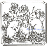 Easter Bunny Rabbit Square Wood Mounted Rubber Stamp Northwoods Rubber Stamp New