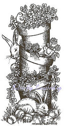 Easter Bunny Stacking Pots Wood Mounted Rubber Stamp Northwoods Stamp O9425 New