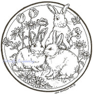 EASTER Bunny Trio Flower Circle Wood Mounted Rubber Stamp NORTHWOODS PP7929 New