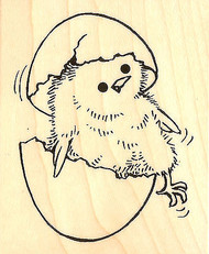 Easter Chick Just Hatched Wood Mounted Rubber Stamp STAMPENDOUS V303 New