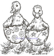 Easter Duck Hatching Pair Wood Mounted Rubber Stamp Northwoods Stamp PP9412 New