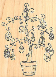Easter Egg Tree Wood Mounted Rubber Stamp Impression Obsession Gail Green NEW