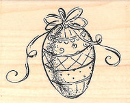 EASTER EGG Wood Mounted Rubber Stamp Impression Obsession NEW