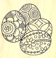 Easter Eggs Pen Pattern Wood Mounted Rubber Stamp STAMPENDOUS Q208 New